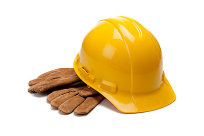 Hard Hat and Construction Gloves